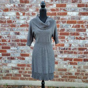 🆕️ Loft Gray Cowl Neck Wool Sweater Dress Sz L
